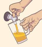 Illustration des strömenden Fassbiers des Mannes in den Weinlesefarben stock abbildung