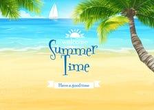 Illustration des Strandes und des Ozeans mit Palmen und Segeln Lizenzfreie Stockfotos