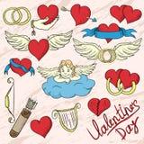 Illustration des symboles du jour de valentines de vacances illustration stock