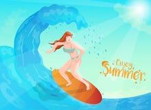 Illustration des tauchenden Wassers der Surferfrau auf Sonnenscheinhintergrund für Enjoy Sommerkonzept lizenzfreie abbildung