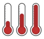 Illustration des thermomètres rouges avec différents niveaux Images stock