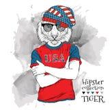 Illustration des Tigerhippies kleidete oben in den Gläsern und im T-Shirt mit Druck von USA-Flagge an Auch im corel abgehobenen B Lizenzfreie Stockfotografie