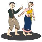 Illustration des traditionellen Vektors der thailändischen Paare Stockfotos