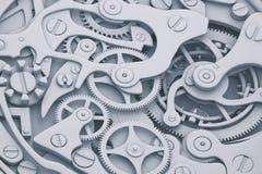 Illustration des Uhrmechanismus 3D mit Gängen Stockbild
