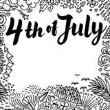 Illustration des Unabhängigkeitstag-Vektor-Plakats 4. der Juli-Papier-Beschriftung auf weißem Hintergrund mit von Hand gezeichnet Lizenzfreie Stockbilder