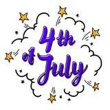 Illustration des Unabhängigkeitstag-Vektors Komisches Artplakat 4. der Juli-Papier-Beschriftung auf weißem Hintergrund mit Sterne Lizenzfreies Stockfoto