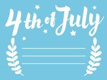 Illustration des Unabhängigkeitstags 4. der Juli-Papier-Beschriftung auf blauem Hintergrund mit Sternen und Blättern Schablone fü Stockbild