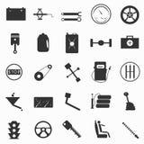 Illustration des véhicules à moteur de vecteur de symboles d'attirail illustration libre de droits