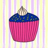 Illustration des Vektorkleinen kuchens Satz Hand gezeichnete kleine Kuchen lizenzfreie stockfotografie