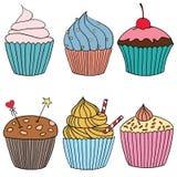 Illustration des Vektorkleinen kuchens Satz Hand gezeichnete kleine Kuchen stockfotos