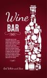 Illustration des Vektors auf Lager der Weinflasche Lizenzfreies Stockbild
