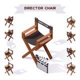 Illustration des Vektors 3d mit Direktornstuhl, der Film in der isometrischen Art macht Verschiedene perspektivische Verkürzung,  lizenzfreie abbildung