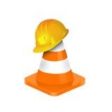 Illustration des Verkehrskegels mit gelbem Sicherheitsschutzhelm Stockbild