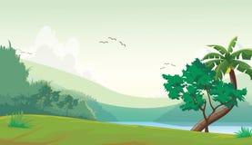 Illustration des Waldes mit einem Flusshintergrund Lizenzfreies Stockbild