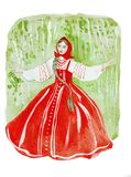 Illustration des weiblichen Schönheitsporträts im russischen Nationalkostüm: Perlenbesetzte und gestickte Hemd sundress Lizenzfreies Stockfoto