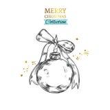 Illustration des Weihnachtsballs Frohe Weihnachten und guten Rutsch ins Neue Jahr lizenzfreie abbildung
