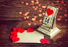 Illustration des Weinlese-Valentinsgruß-Tag background Stockbilder