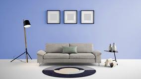 Illustration des Wohnbereichs 3d der hohen Auflösung mit blauer Farbwand und Designermöbeln Lizenzfreie Stockbilder