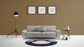 Illustration des Wohnbereichs 3d der hohen Auflösung mit brauner Farbwand und Designermöbeln Lizenzfreies Stockbild