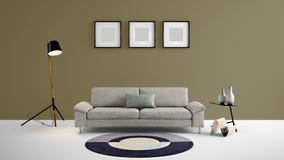 Illustration des Wohnbereichs 3d der hohen Auflösung mit brauner grauer Farbwand und Designermöbeln Stockfotos