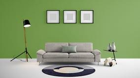 Illustration des Wohnbereichs 3d der hohen Auflösung mit dunkelgrüner Farbwand und Designermöbeln Stockfoto