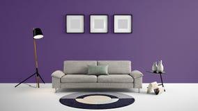 Illustration des Wohnbereichs 3d der hohen Auflösung mit dunkler purpurroter Farbwand und Designermöbeln lizenzfreie abbildung