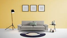 Illustration des Wohnbereichs 3d der hohen Auflösung mit gelber Farbwand und Designermöbeln Stockfotos
