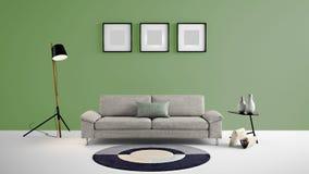 Illustration des Wohnbereichs 3d der hohen Auflösung mit grüne Farbwand und Designermöbeln Stockbild