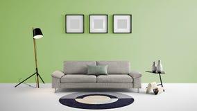 Illustration des Wohnbereichs 3d der hohen Auflösung mit hellgrüner Farbwand und Designermöbeln Lizenzfreies Stockbild