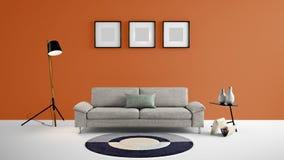 Illustration des Wohnbereichs 3d der hohen Auflösung mit orange Farbwand und Designermöbeln Stockfotos