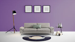 Illustration des Wohnbereichs 3d der hohen Auflösung mit purpurroter Farbwand und Designermöbeln Stockfoto