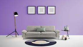 Illustration des Wohnbereichs 3d der hohen Auflösung mit purpurroter Farbwand und Designermöbeln Lizenzfreies Stockbild