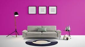 Illustration des Wohnbereichs 3d der hohen Auflösung mit rosa Farbwand und Designermöbeln Lizenzfreie Stockbilder