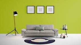 Illustration des Wohnbereichs 3d der hohen Auflösung mit Wand des Papageien grüne Farbund Designermöbeln Stockfotos