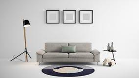 Illustration des Wohnbereichs 3d der hohen Auflösung mit weißer Farbwand und Designermöbeln Stockfotos