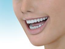 Illustration des Zahnpflegen Vollkommene Zähne Nahaufnahme des schönen und gesunden Frauenlächelns 3d übertragen Lizenzfreie Stockfotografie