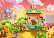 Illustration: The Desert City. The Palaces, Royal Residences. Royalty Free Stock Image