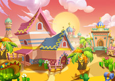 Illustration: The Desert City. The Sweet Residential House. Realistic Cartoon Style Scene / Wallpaper / Background Design