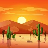 Desert landscape with cactuses on the sunset background. Illustration of Desert landscape with cactuses on the sunset background Stock Photo