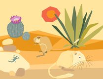 Illustration-desert with plants and animals Royalty Free Stock Images