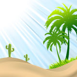 Illustration of desert scene with palm tree,cactus Royalty Free Stock Photo