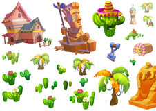 Illustration: Desert Theme Elements Design. Game Assets. The House, The Tree, The Cactus, The Stone Statue. Realistic Cartoon Style Elements / Illustrations / Stock Photos