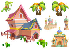 Illustration: Desert Theme Elements Design Set 2. Game Assets. The House, The Tree, The Cactus, The Stone Statue. Realistic Cartoon Style Elements / royalty free illustration