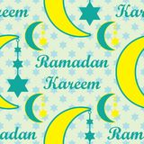 Ramadan Kareem moon hang star seamless pattern. This illustration is design abstract baby lullaby with Ramadan Kareem crescent hang with six stars in symmetry Stock Photos