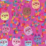 Music cat cute seamless pattern Royalty Free Stock Image