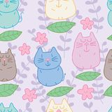Cat zen leaf pastel color seamless pattern. This illustration is design abstract cat zen fly leaf in pastel color and seamless pattern background Stock Photo