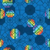 Polygon line style different rainbow glitter blue seamless pattern Royalty Free Stock Photo