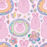 Funny circle cartoon seamless pattern bunny. This illustration is design abstract funny bunny with funny circle cartoon in seamless pattern dotted background Royalty Free Stock Photos