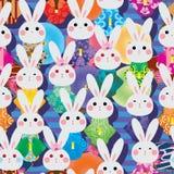 Japan rabbit Kimono many fan umbrella stripe seamless pattern. This illustration is design abstract Japan rabbit kimono many with fan, umbrella and stripe royalty free illustration