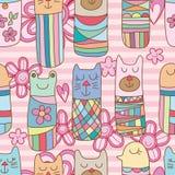 Kokeshi cat bird bear frog flower pink seamless pattern royalty free illustration